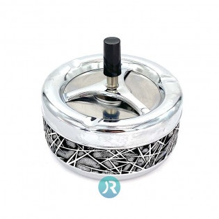 Ashtray Black & White Leather Large